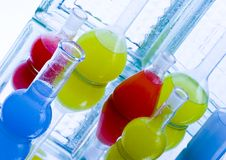 Colored liquids in laboratory Stock Photos