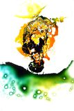 Colorful liquids mixed together to an abstract painting. Colored liquids mixed together in fluid creating colorful abstract painting consisting of gradients and royalty free stock photography