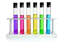Colored Liquids in Six Test Tubes Royalty Free Stock Photo