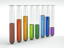Colored liquids in test tubes on white background. 3D Illustration Stock Photos