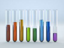 Colored liquids in test tubes on white background. 3D Illustration Royalty Free Stock Photos