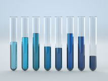 Colored liquids in test tubes on white background. 3D Illustration Royalty Free Stock Images