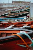 Colored local fishing boats along the old fishing shore. Ponta do Sol Santo Antao Cape Verde.  Royalty Free Stock Images