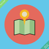 Colored location icon with pin - vector. Illustration. Flat design element Stock Photography