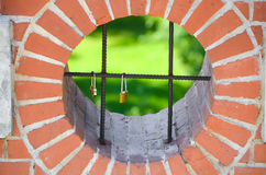Colored lock on the iron fence Stock Image