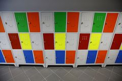 Colored Lockers Stock Photo