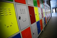 Colored Lockers Stock Image