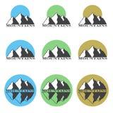 Colored logos, icons mountain set. Stock Photos
