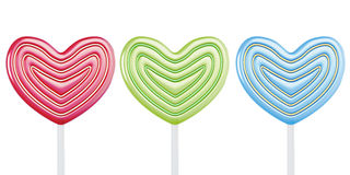 Colored lollipops hearts on white background Royalty Free Stock Image