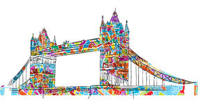 Colored London Tower Bridge Symbol Stock Photo