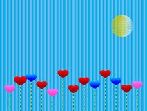 Blue background with hearts Stock Image