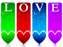 Colored love banners Stock Photography