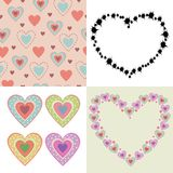 Colored lovely hearts. Colored hearts background.Set of four illustrations vector illustration