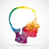 Colored Low Poly Human Head Brain Royalty Free Stock Photos