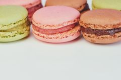 Colored macaron close up photo stock photography