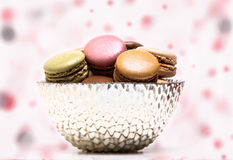 Colored macarons inside bowl Royalty Free Stock Photo