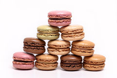 Colored macarons  on white Royalty Free Stock Photography