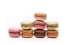 Colored macarons on white background Stock Photo