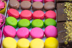 Colored macaroon. Colored tasty sweet cake with cream macaroon stock photography
