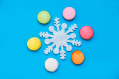 Colored macaroons and ice crystal Royalty Free Stock Photos