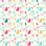 Colored magic pattern. Vector hand drawn cartoon seamless pattern with magic wands, monsters, ghost. Fantasy, magic theme. Colored magic pattern for paper stock illustration