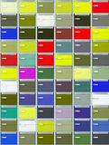 Colored mail boxes. Colorful archival boxes wall  with labels Royalty Free Stock Image
