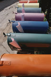 Colored Mailboxes. Row of brightly colored mailboxes Royalty Free Stock Photography
