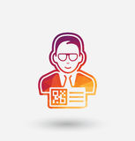 Colored man with QR code pass icon on white background. Royalty Free Stock Photo