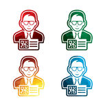 Colored man with QR code pass icons on white background. isolated QR code pass icons. eps8. Royalty Free Stock Images