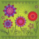 Colored mandala flowers Stock Photo