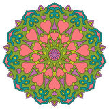 Colored mandala with hearts. Round symmetrical ornaments Royalty Free Stock Images
