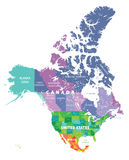 Colored map of USA, Canada and Mexico states Royalty Free Stock Photo