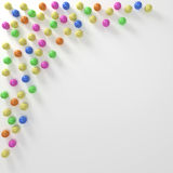 Colored Marbles Background Border. Colorful marbles border background on white paper royalty free illustration