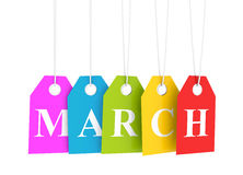Colored march tags Stock Photo