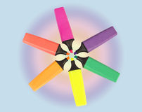 Colored marker pens in circle Royalty Free Stock Images