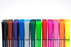 Colored marker pens isolate on white background Stock Photos