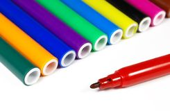 Colored marker pens isolated. On white Stock Image