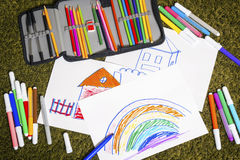 Colored marker pens painting and paper Royalty Free Stock Image