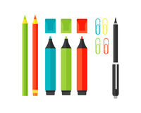 Colored marker school supply highlighters vector illustration. Stock Photo