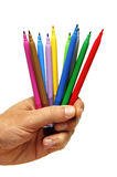 Colored markers. Some colored markers isolated on a white background royalty free stock photos