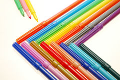 Colored Markers. In a geometric shape royalty free stock photo