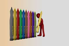 Colored markers. In colored background Royalty Free Stock Photo