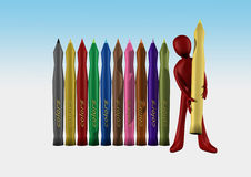 Colored markers. In colored background Stock Photo