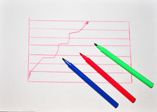 Colored markers on a background chart Royalty Free Stock Photos