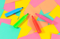 Colored markers on the colored cards background. Stock Photo