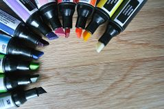 The colored markers. The composition of colored markers Royalty Free Stock Image