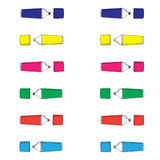 Colored markers hand drawn pattern on white background Stock Photos
