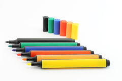 Colored markers isolated Stock Photography