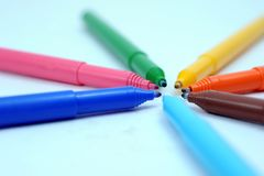Colored markers stock photos