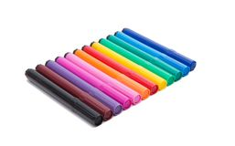 Colored markers isolated Royalty Free Stock Photo